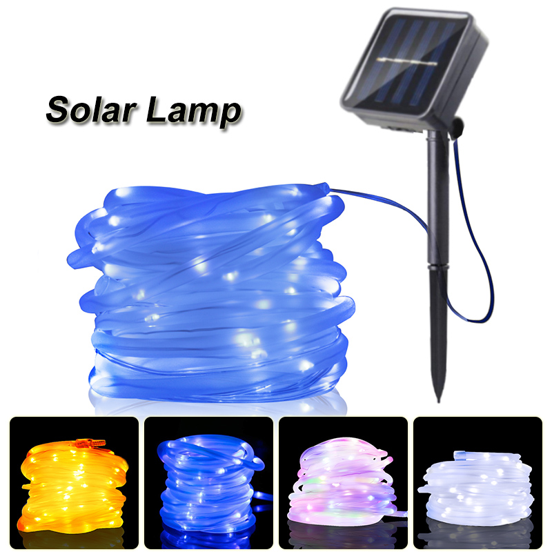 7M 12M LED Solar Garden Lights Outdoor Decorative Lamp Waterproof Rope Tube LED Street Light Home Party Christmas String Lights|Solar Lamps| |  - title=