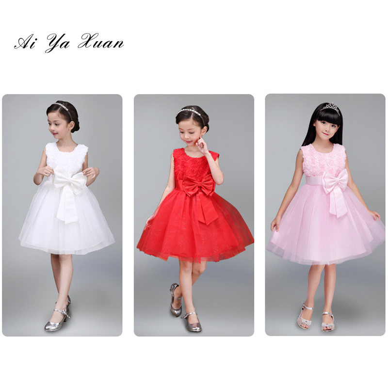 AiYaxuan Summer Formal Kids Dress For Girls 2017 Princess Wedding Party Girl Clothes 6 Years Dress Bridesmaid Children Dresses girls short in front long in back purple flower girl dress summer 2017 girl formal dress kids party princess custume skd014283