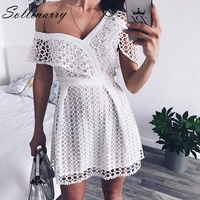 Lily Rosie Girl Ruffle short sleeve white sexy dress women 2018 New pink mini lace dresses Beach party one shoulder vestidos