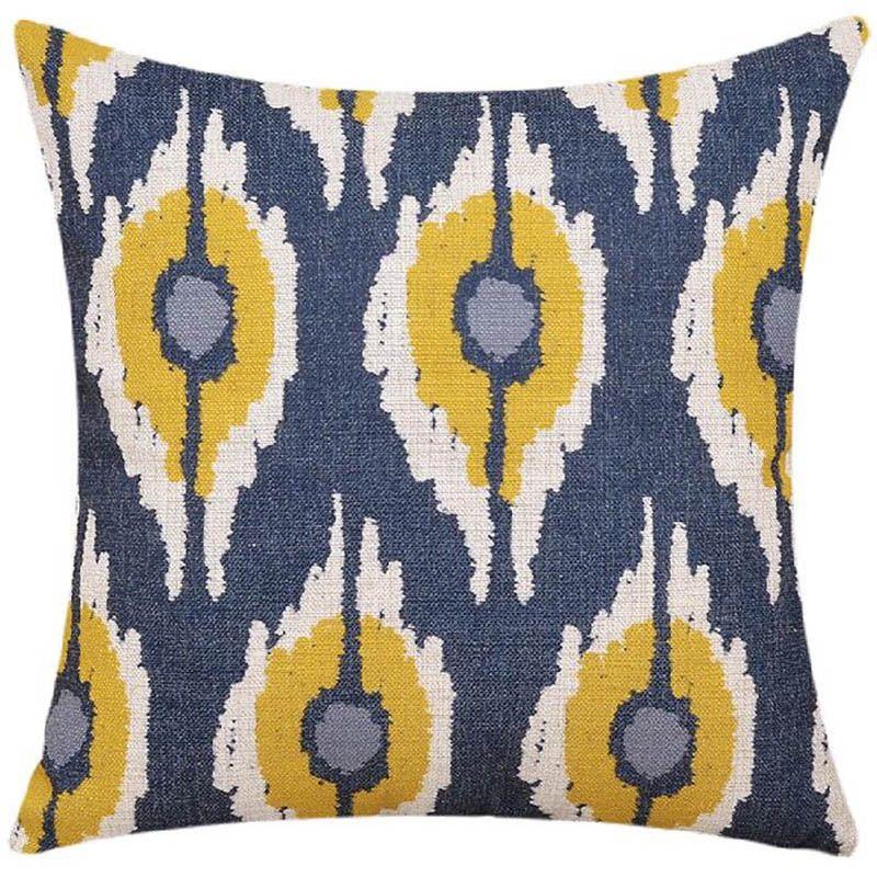 Marvelous Blue And Yellow Ethnic Cushion Cover Elegant Decorative Home Ibusinesslaw Wood Chair Design Ideas Ibusinesslaworg