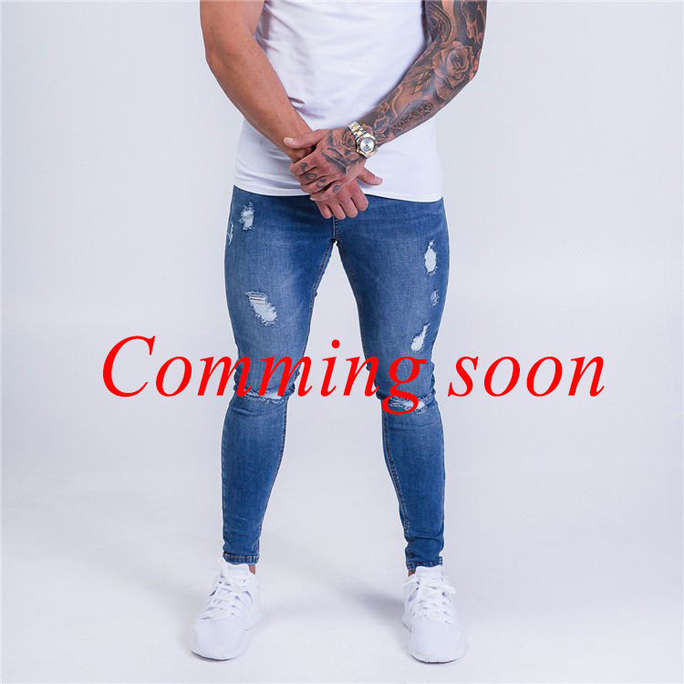 denim garment factory blue ripped super stretch mens spray on skin tight skinny jeans fa ...