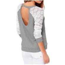 ZANZEA Blusas 2016 Spring Autumn Women Patchwork Long Sleeve Backless Blouse Embroidery Lace Crochet Shirt Plus Size 6 Color