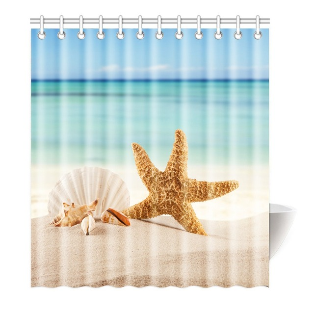 Shower Curtain Beach Starfish Seashell And Blue Sea Printing Waterproof Mildewproof Polyester Fabric Bath Bathroom