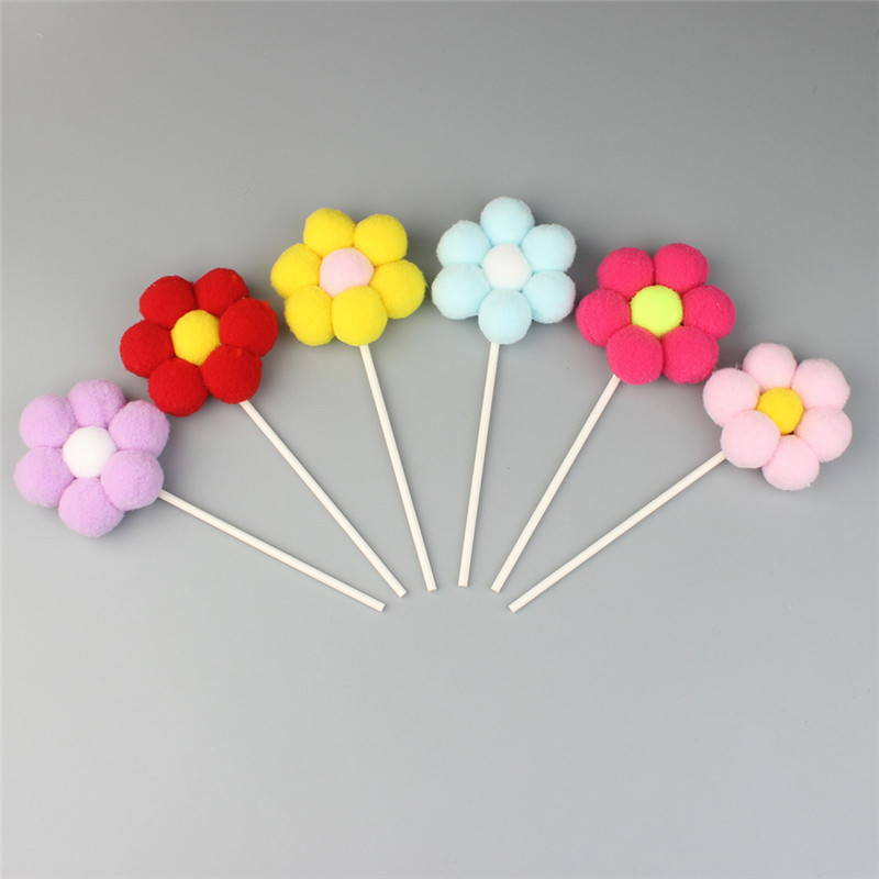 6pcs/lot Cute Mix Colors Hair Ball Flower Shape Cake Topper for Wedding Birthday Baby Shower Party Decorative Accessories