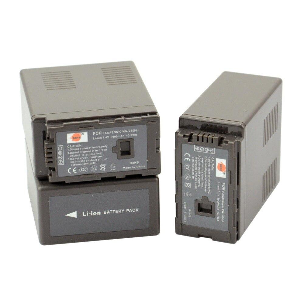 DSTE 3pcs VW-VBG6 VWVBG6 VBG6 Camera Battery for Panasonic AG-HMC155 AG-HMC83MC AG-HMC40 AG-HMC151E HDC-MDH1GK-K