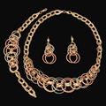2017 New Charm Silver Rose Gold Plated Jewelry Set Fashion Three Color Dubai Nigerian Wedding African BeadsJewelry Set For Women