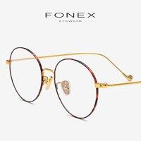 Pure Titanium Eyeglasses Frame Men Vintage Retro Round Prescription Glasses Eyewear Myopia Optical Eye Glass Women Spectacle 705