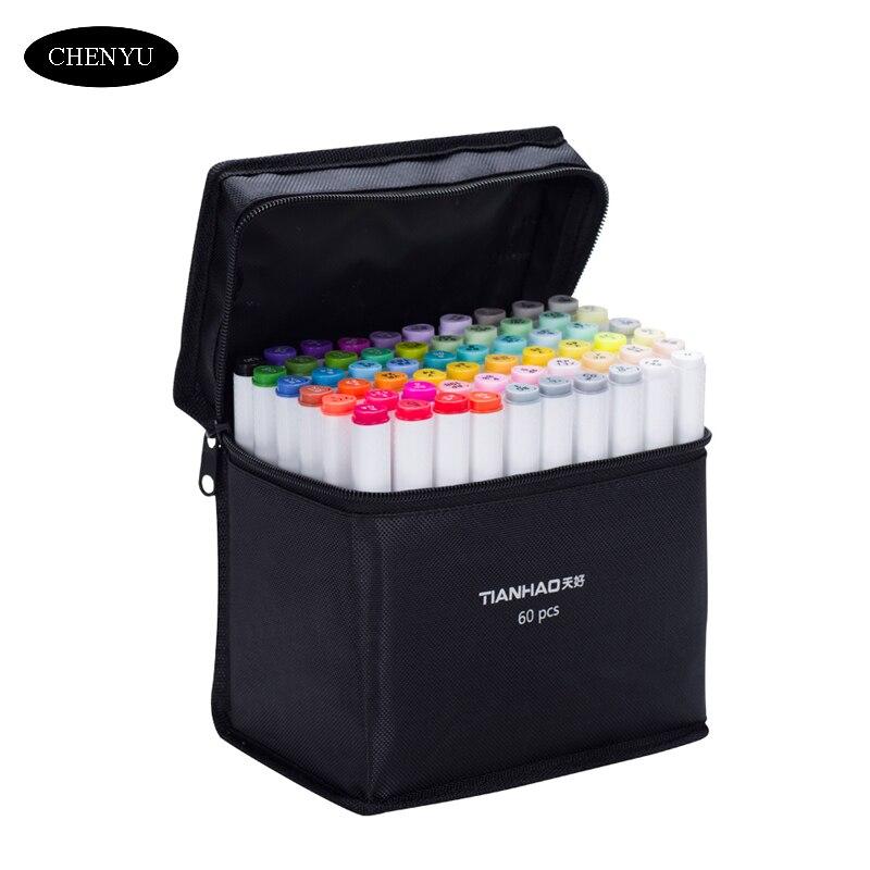 CHENYU/30/40/60/80/168 colores a base de Alcohol pluma marcadores de doble cabeza dibujo marcadores cepillo lápiz para dibujar Manga diseño arte suministros