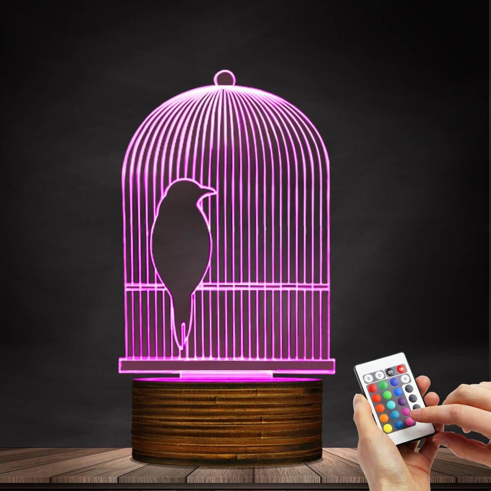 1Piece Bird Cage 3D Optical illusion Lamp LED Night Light Bird Decorative Hanging Rod Bird Cage Kid Room Night Light Table Lamp free shipping 1piece new arrive marvel anti hero deadpool figure light handmade 3d bulbing illusion lamp led mood light for kid