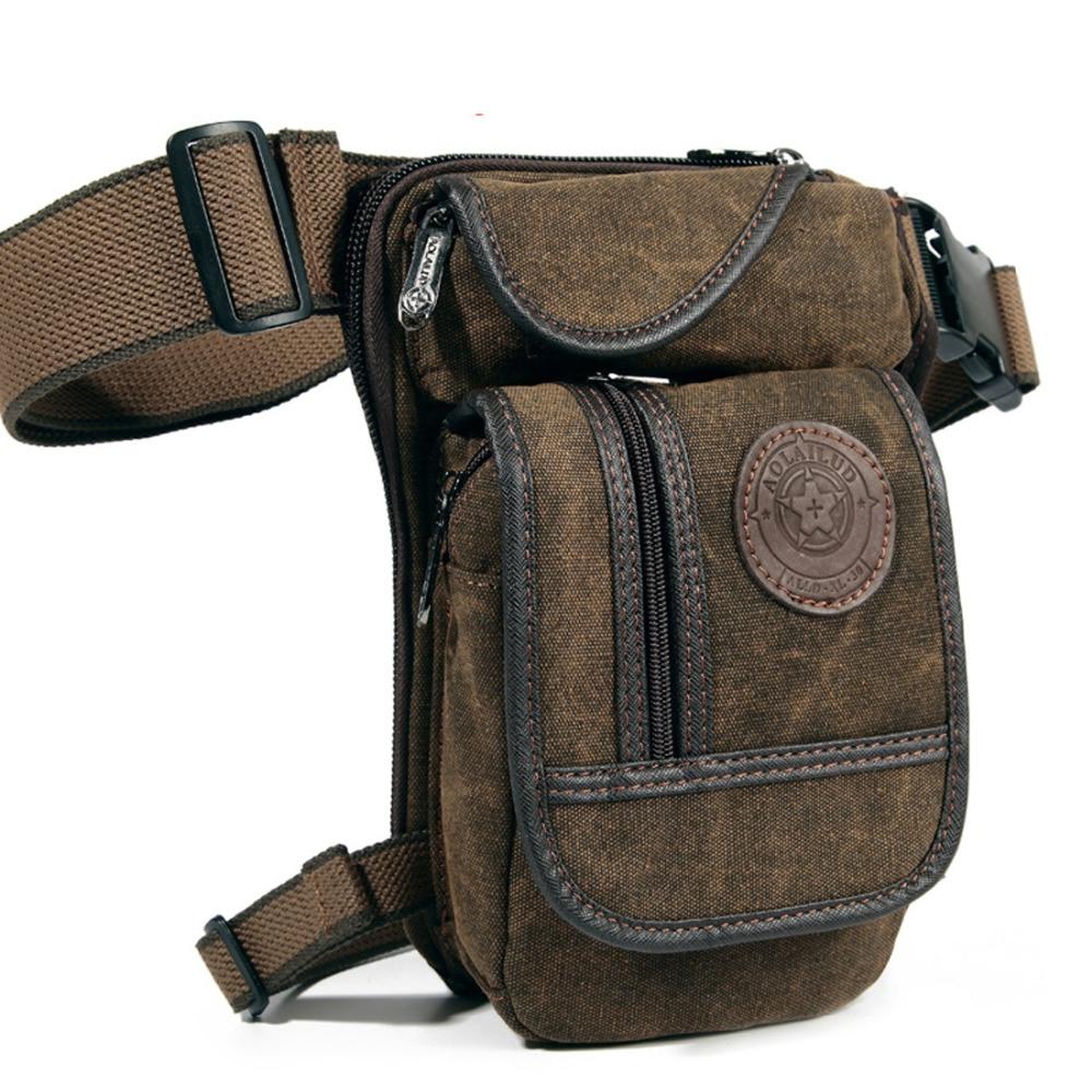 New Men's Canvas Drop Leg Bag Midje Fanny Pack Belt Hip Bum Militær Reise Motorsykkel Multi-Purpose Messenger Skuldertasker