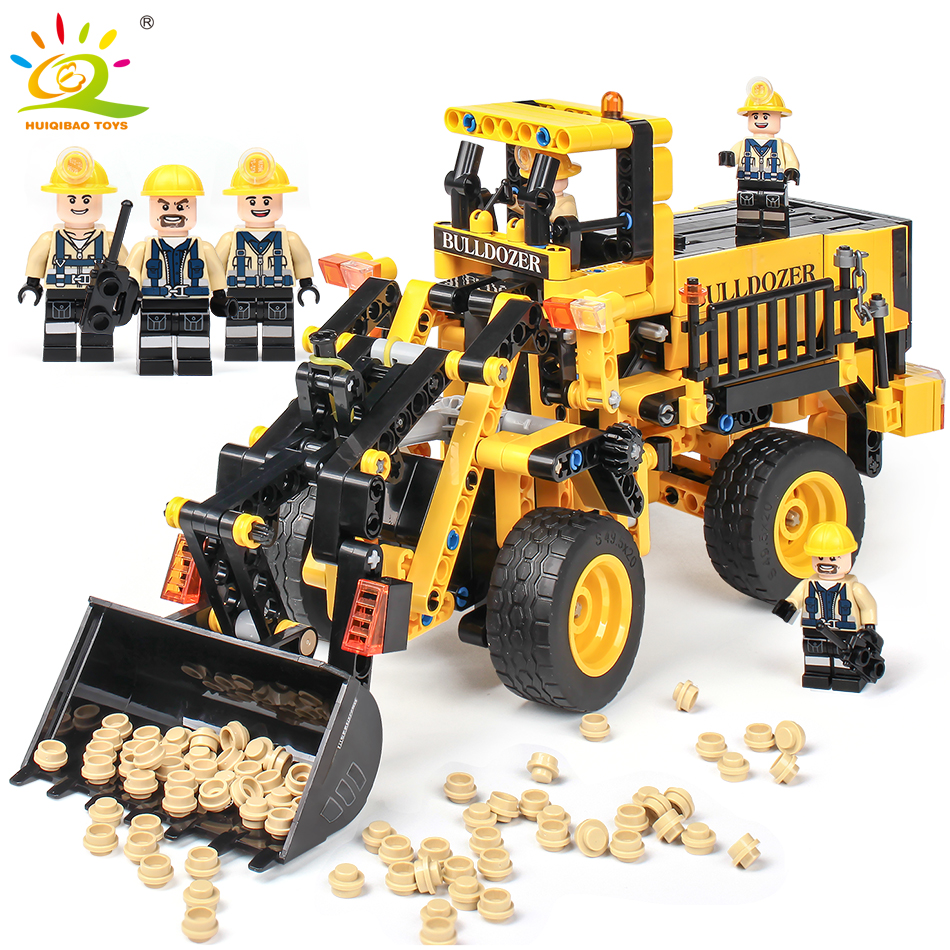 688pcs Engineering Bulldozer Truck Building Blocks Compatible Legoingly Technic Bricks City Construction Brick Toys For children