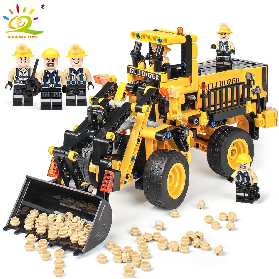 688pcs Engineering Bulldozer Truck Building Blocks Compatible Legoingly Technic Bricks City Construction Brick Toys For children