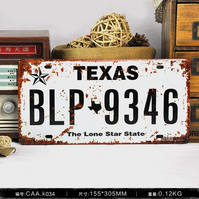Texas Blp 9346 Vintage License Plate Retro Iron Painting Poster Wall