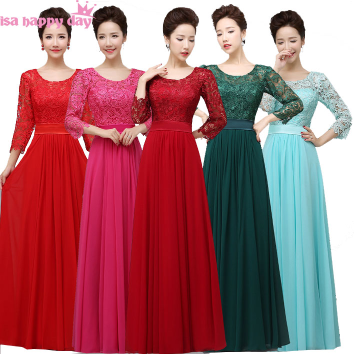 full figure burgundy long   bridesmaid   dark green sleeve   bridesmaids     dresses   chiffon hot pink under 100 gown with sleeves B2909