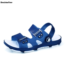 Fashion Casual Men Flat Sandals Mixed Colour Male Summer Beach Shoes Metal Decoration Design Slippers Open Toes Shoes Z156