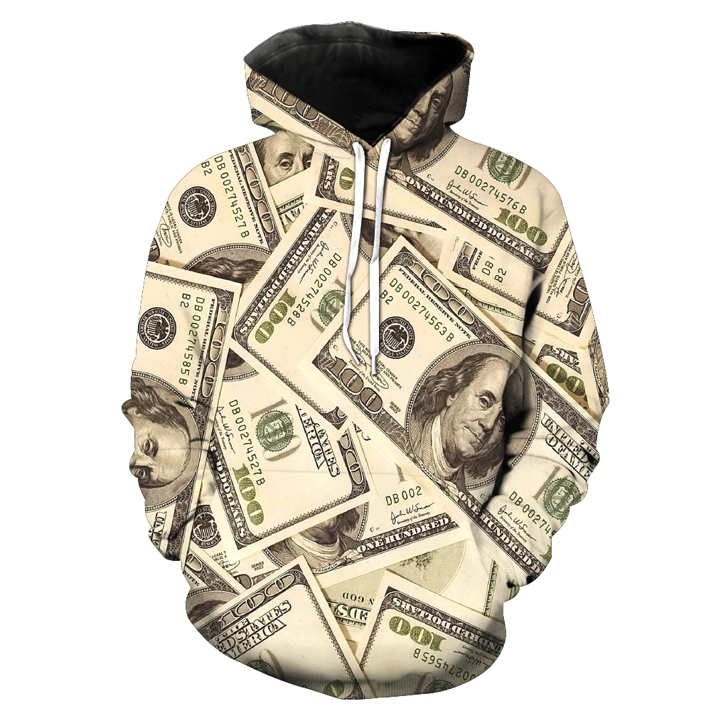 Sweatshirt MenWomen 3d Hoodies Print dollar money rich other pattern Pullover