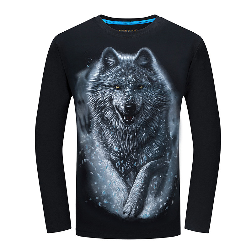2018 Cheapest Fashion Men   t  -  shirt   long sleeve cool design 3d funny   t     shirt   homme Wolf Printed casual top Plus Size 6XL wholesale