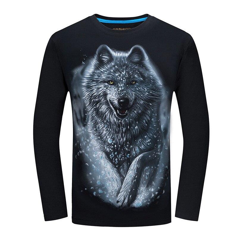 2018 günstigste Mode Männer t-shirt langarm cooles design 3d lustige t hemd homme Wolf Gedruckt casual top Plus Größe 6XL großhandel