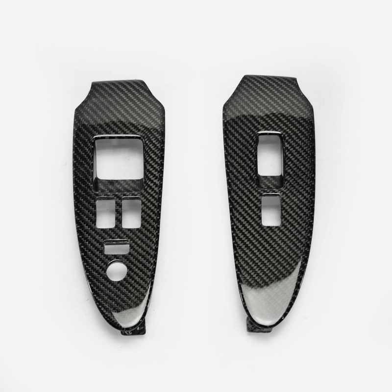 For Nissan 09 On 370z Z34 Carbon Fiber Window Switch Cover LHD Stick On Type Glossy