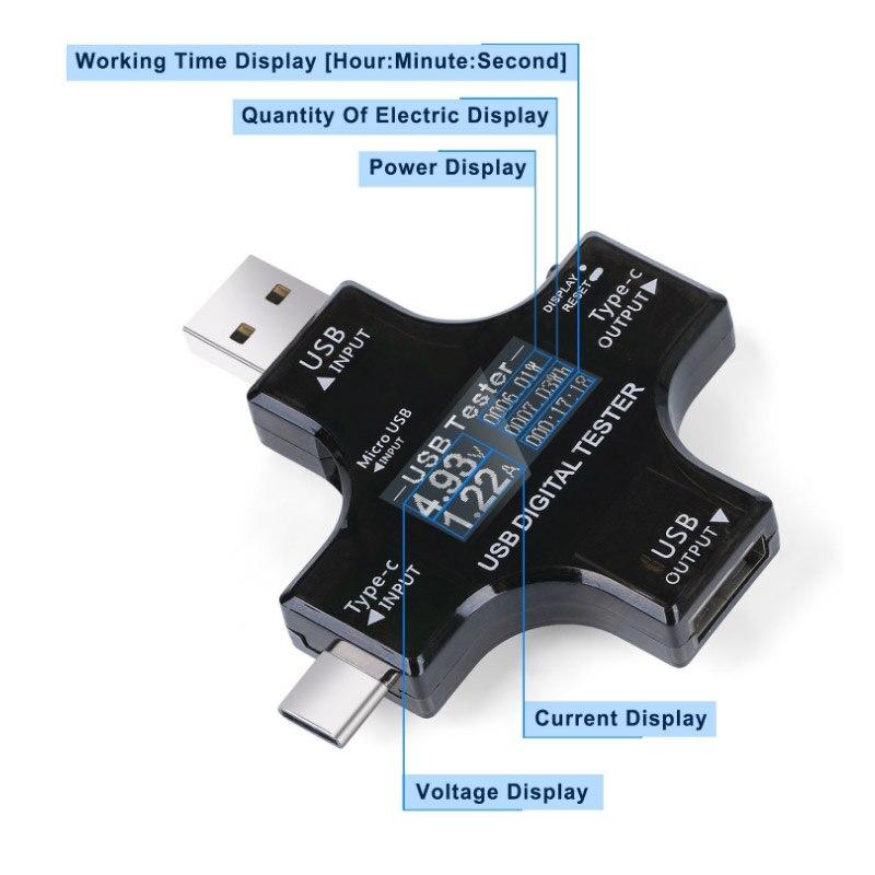 ATORCH C tipo pd USB testeris DC Skaitmeninis voltmetro amperimetras - Matavimo prietaisai - Nuotrauka 4