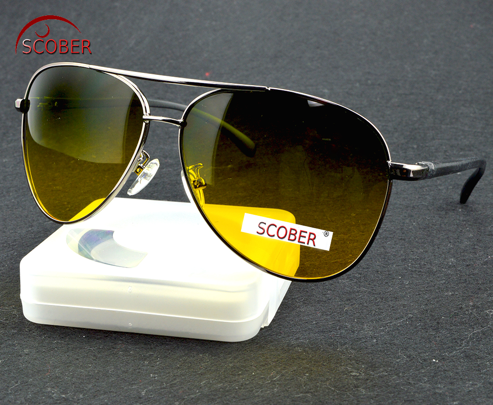 =SCOBER= Day N Night Al Mg Alloy Polarized light Night vision Sunglasses Anti-UV drive Leisure Travel special Mirror sunglasses
