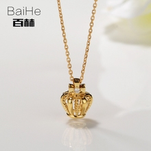 BAIHE Solid 14K Yellow Gold 0.03ct Certified Genuine Natural Diamond Wedding Women Trendy Jewelry Elegant unique gift Necklaces