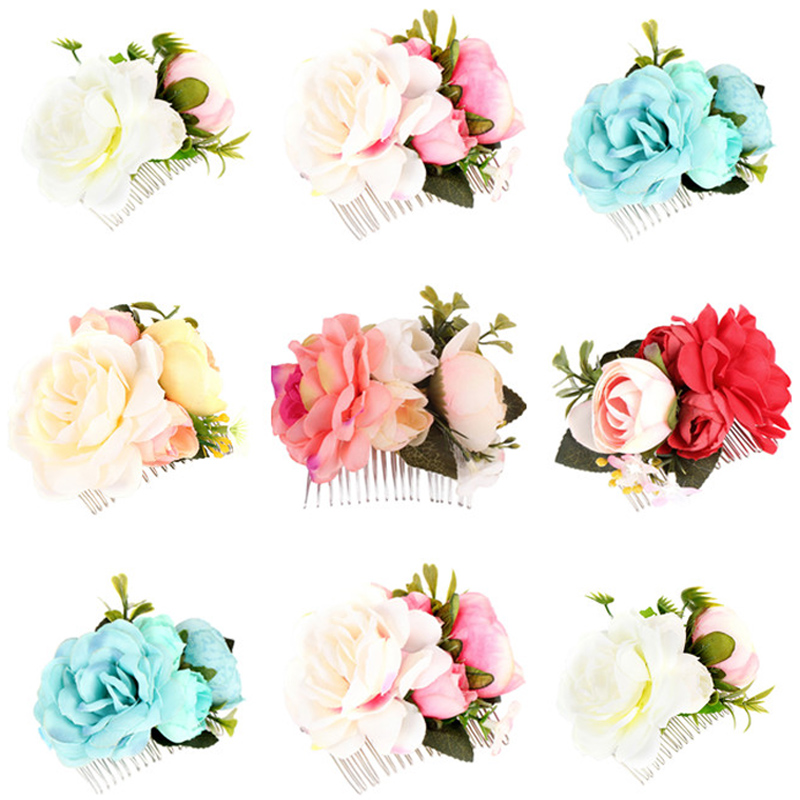 Rose Flower Crown Bridal Hairpin Boho Floral Hair Comb Wedding Hair Clip Bridesmade Vintage Hairclips Hair Jewelry Accessories