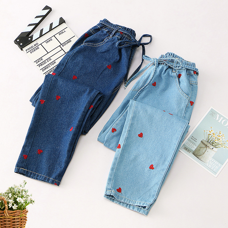 preppy style Heart embroidery Elastic waist jeans pants 2018 mori girl autumn