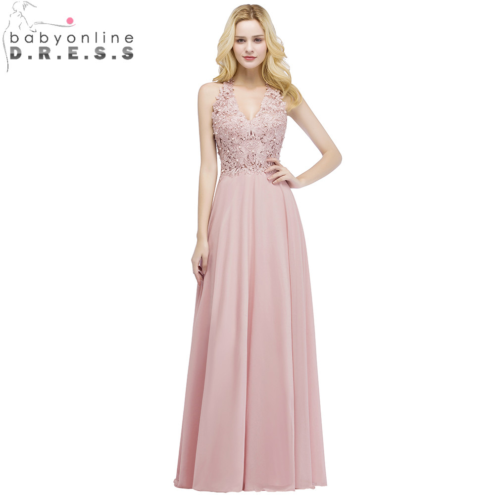 Babyonlinedress Sexy V Neck Pink Lace Chiffon Long Evening Dress Elegant Sleeveless Evening Gowns with Pearls