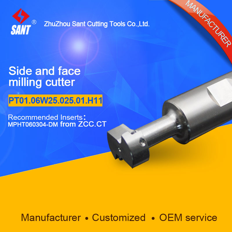Indexable milling cutter insert MPHT060304-DW Side and face milling cutter disc PT01.06W25.025.01.H11/TMP01-025-XP25-MP06-01