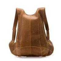 Genuine Leather Backpack Safe Pocket Pack Bags Men or Women Bicycles Cowhide Adjustable Shoulder Strap Bags Personalized Hug Bag