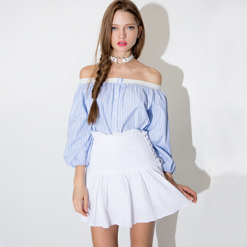 3b1d8a03f78c26 Cute Blue White Striped Crop Top 2015 Summer Style Sexy Slash Neck Single  Breasted Loose Women Tops Female Shirt Blusas haoduoyi-in Blouses & Shirts  from ...