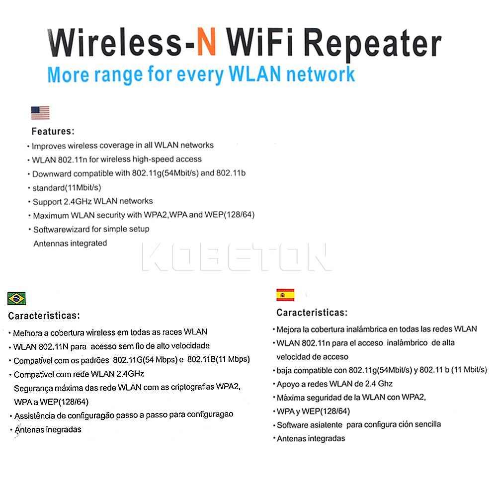 Repetidor Wifi inalámbrico-N AP 802.11b/g/n red Wifi antena expansora extensible repetidores de señal Wi-fi enchufe europeo de 300 Mbps nuevo
