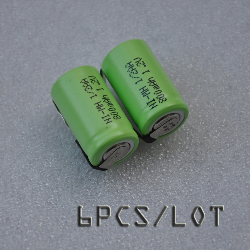 NEW 6PCS 1.2V 1/2AA rechargeable battery 800mah 1/2 AA ni-mh nimh cell with tab pins for electric shaver razor cordless phone