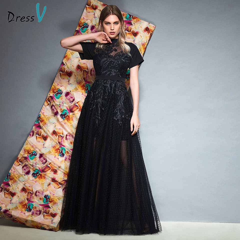 Dressv black high neck elegant appliques long   prom     dress   zipper up floor length short sleeves evening party gown   prom     dresses