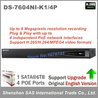 Hikvision English Version DS 7604NI K1 4P 4CH 4K NVR One SATA With 4POE Ports Embedded