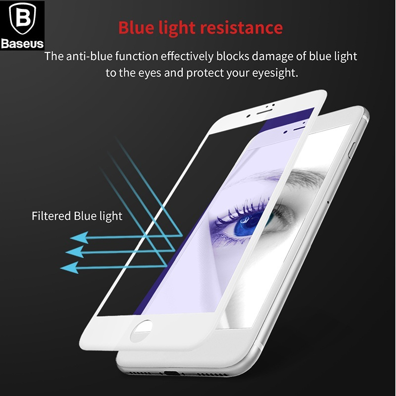 BASEUS Brand 3D Frosted 0.23mm PET Soft Edge Tempered Glass Screen Protector For iPhone 7 / For iPhone 7 Plus Full-Covered Film