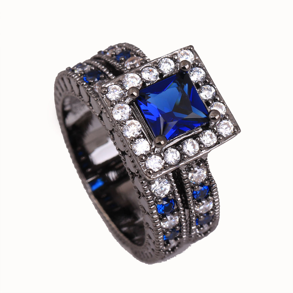 2016 royal blue Czech zircon black gold-color women wedding ring new gift lady femal finger rings vintage fashion jewelry