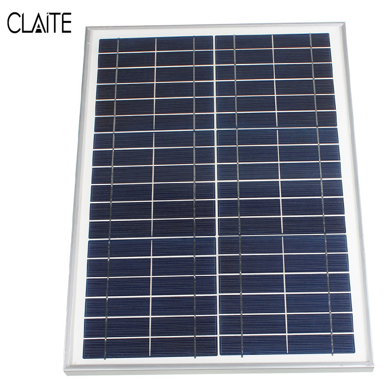 CLAITE 12V 20W Polycrystalline Solar Panel Energy Power Poly Module System Solar Cells Charger+300cm Cable+2x Alligator Clips high quality boscam rc832 fpv 5 8g 48ch wireless av receiver for fpv multicopter