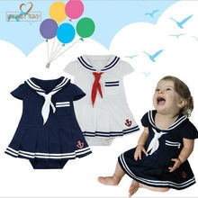 96a218816c97a Nyan Cat Baby girls rompers infants toddler Sailor navy dress style jumpsuit  Kids 2colors Blue White Short Sleeve summer clothes