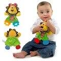 Infantil do bebê Bonito Brinquedo de Pelúcia Do Leão Toalha de Conforto com Som papel e Mordedor Macio Cão Apaziguar Recheadas Brinquedo Playmate Calma boneca