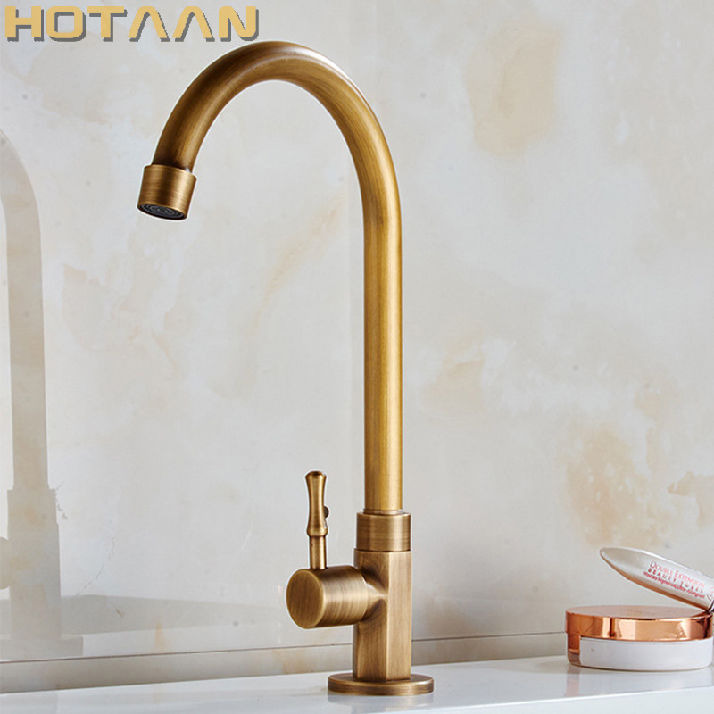 Free shipping single cold faucet antique finishing brass taps bath tap basin faucets  torneiras kitchen tap YT-5059