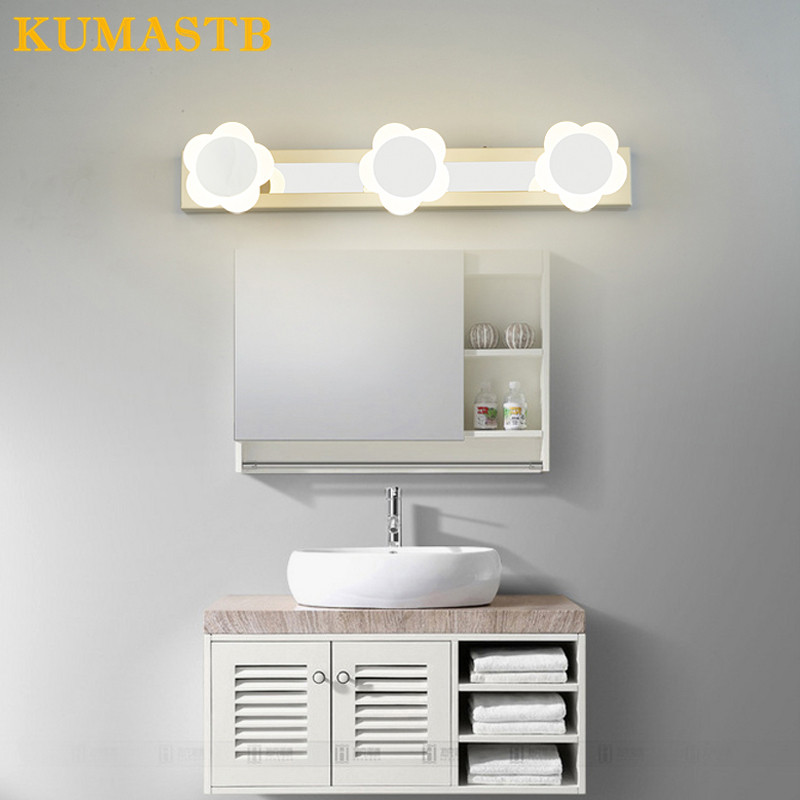 LED Mirror Light Bathroom Wall Light Modern Simple Mirror Lampara Waterproof Abajour Bathroom Home Lighting Flowers Wall Lamps modern led bathroom light stainless steel led mirror lamp dresser cabinet waterproof sconce indoor home wall lighting fixtures