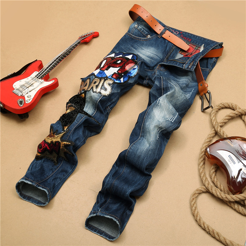 New mens embroidered big star in Europe and America stitching Slim Straight jeans men washed jeans wholesale