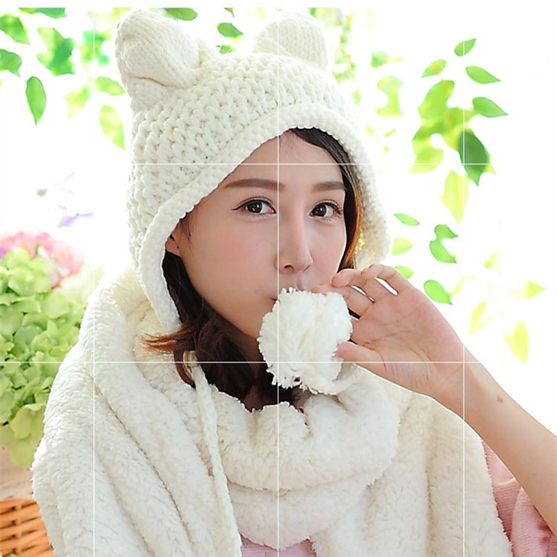 688b0aebda2 2017 Kids Mum Winter Hat Cute Fox Character Baby Adult Hats with Kitty Ears  Adorable Hats Pink White Handmade Knitting Beanies-in Hats   Caps from  Mother ...