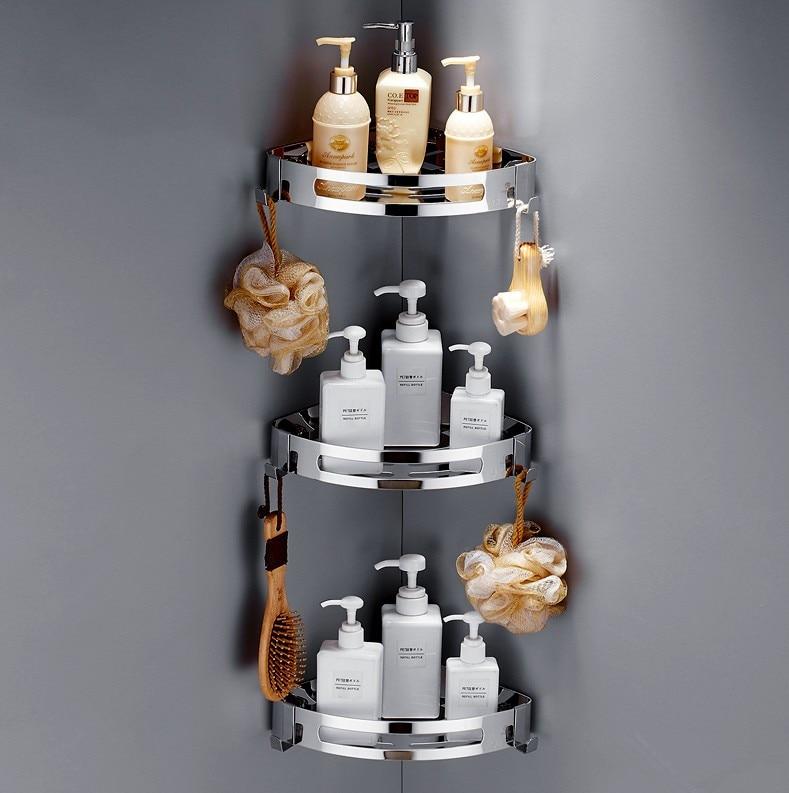 304 Stainless Steel Bathroom Shelves Silver Bathroom Accessories Shower Corner Shelf Shampoo Storage Rack Bathroom Basket Holder
