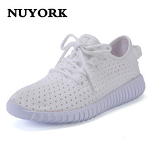 Nuyork Hot sale!2017 New Mesh womenflat shoes Summer Shoes women Low To Help Breathable women Shoes Grey Red white moonlight