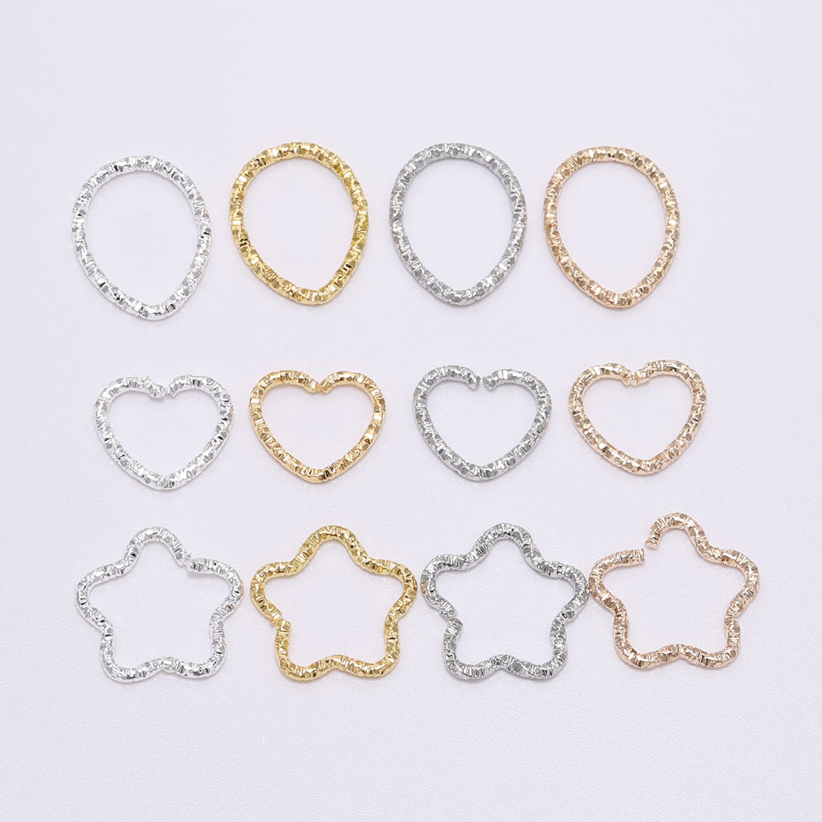 50pcs 16.5mm Gold Silver Star Jump Rings Twisted Split Rings Connectors Diy Craft Charms Spacer Beads For Jewelry Finding Making