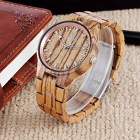 Men Wood Watch Unique Wooden Quartz Wristwatches Retro Women Watches Free Shipping Sale