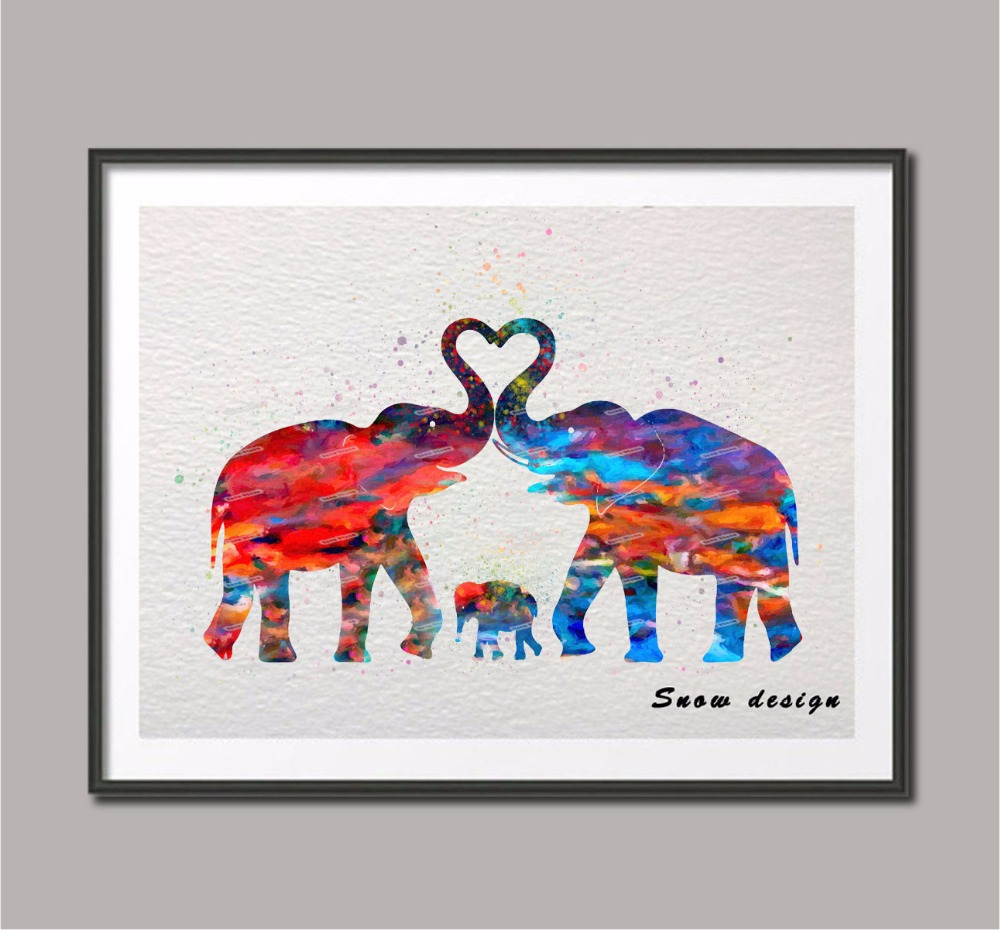 Original watercolor Elephant Family poster print Pictures canvas ...